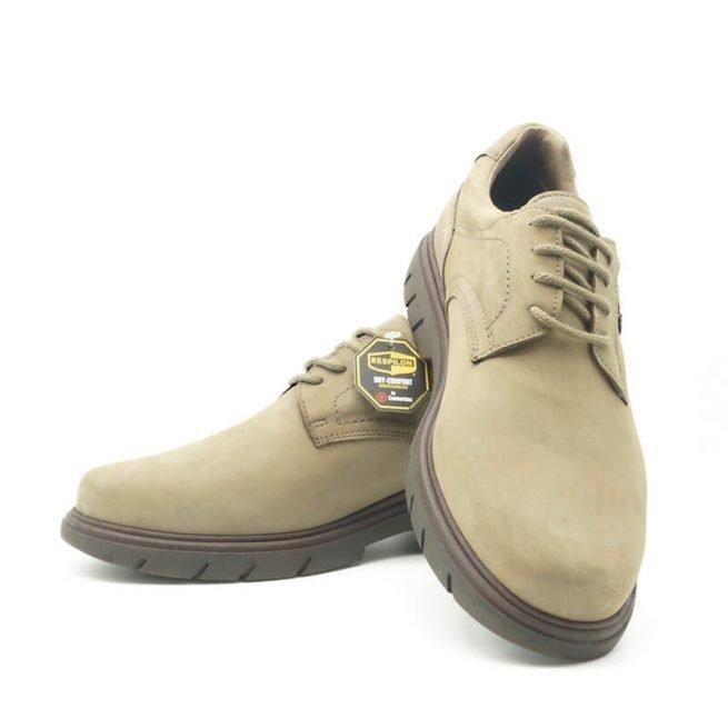 Zapatos Bay, casual con cordones hidrofugado modelo C510, color khaki-gris 5.